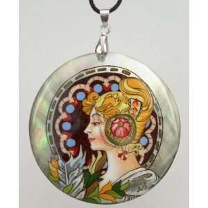Mother of Pearl Russian Hand Painted Pendant (#0756) Art Nouveau style