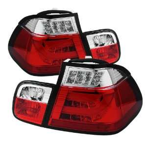 2005 BMW E46 3 Series 4Dr Light Bar Style LED Tail Lights   Red Clear