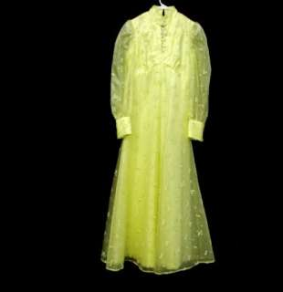 60s Vtg Bright Yellow Long Formal Gown Prom Dress sz M Prairie Hippie