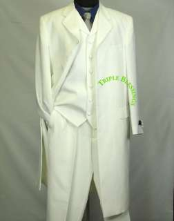 LENGTH 3 PIECE MEN 7 BUTTON ZOOT SUIT OFF WHITE htv $250+