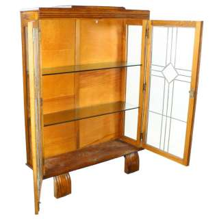Original Art Deco Solid Oak Two Door Leaded Glass China Display