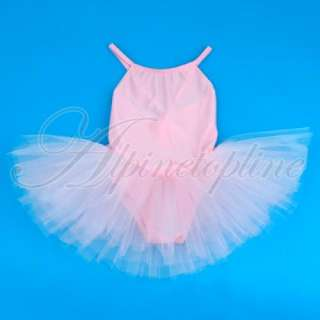 Girl Ballet Tutu Dance Party Dress Leotard Straps Skirt