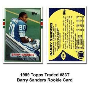 Topps Detroit Lions Barry Sanders 1989 Rookie Trading Card