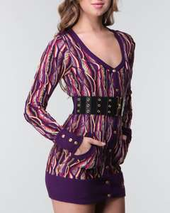 WOMENS SEXY BELTED COOGI SWEATER DRESS SNAP BUTTONS PURPLE S M L NWT $