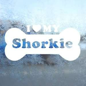 I Love My Shorkie White Decal Car Window Laptop White