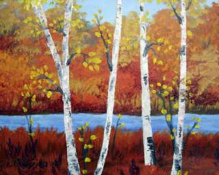 Nature Painting Fall Birch Trees Original Oil Autumn Landscape Art NR