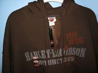 This quality Harley Davidson fleece hoodie is brown, size XXXL. You