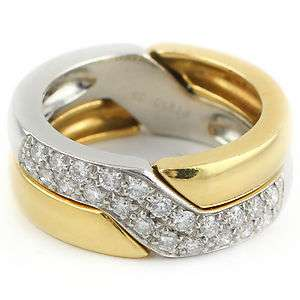 Diamond Platinum & 18K 750 Yellow Gold Rare Interlocking Ladies Ring