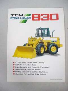 TCM 830 ARTICULATED WHEEL LOADER FACTORY BROCHURE SHEET