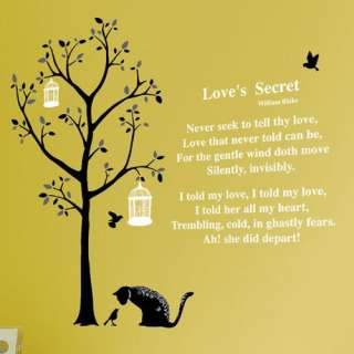 Poem & Tree Decor Mural Art Sticker Wall Paper SS 58220