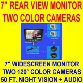 TWO CAMERA 7 COLOR REAR VIEW BACKUP SYSTEM TRUCK RV 2