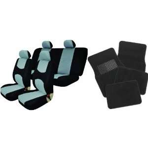 Universal Full Set of Car Seat Covers and Black Floor Mats   Black and