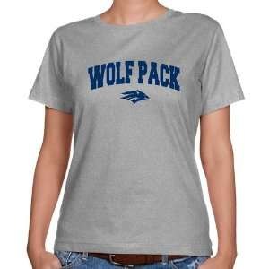 Nevada Wolf Pack Ladies Ash Logo Arch Classic Fit T shirt