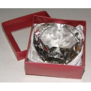 Heart Shaped Crystal Glass Paperweight with Etched Hearts