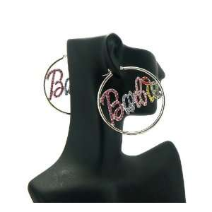 NICKI MINAJ BARBIE Thin Hoop Rhinestone Earring Large Silver/Multi