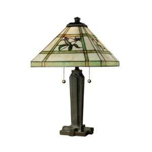 TT80376 Hollingworth Table Lamp, Antique Bronze and Art Glass Shade