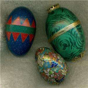 DECORATIVE EGGS LARGE MEDIUM SMALL GROUP OF 3 CLOISONNE