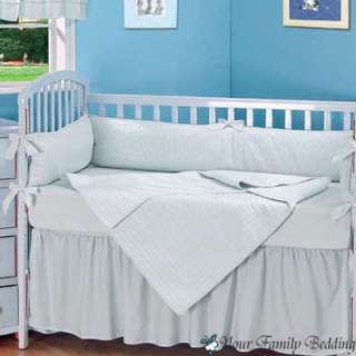 Baby Boy Blue Solid Crib Infant Kid Nursery Bedding Set