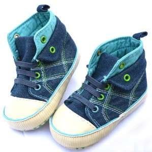 blue high top new infants toddler baby boy walking shoes UK size 2 3 4