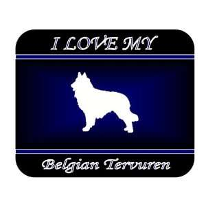 I Love My Belgian Tervuren Dog Mouse Pad   Blue Design
