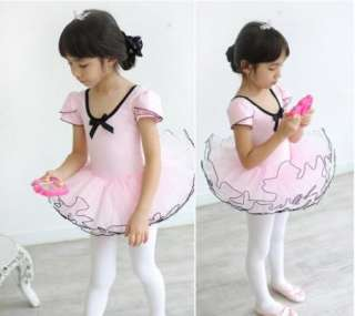 Girls Party Fairy Ballet Dance Costume Tutu Dress Short Sleeve Shirt 3