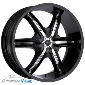 New 22x9.5 Milanni Bel Air 6 Gloss Black w/ Chrome Insert Wheels