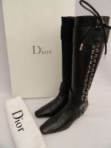 BN Christian Dior Black Leather Knee Boots /Shoes UK3/EU36   RARE