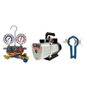 CFM PRO SET Vacuum Pump With Manifold Gauge Set and 3 in1 Can Tap
