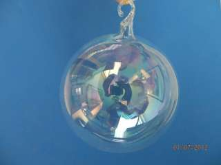 MED CLEAR GLASS KUGEL BALL GERMAN BLOWN GLASS CHRISTMAS TREE ORNAMENT