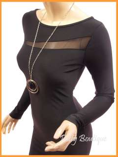 Black Lace Split Boat Neck Long Sleeve Party Mini Dress