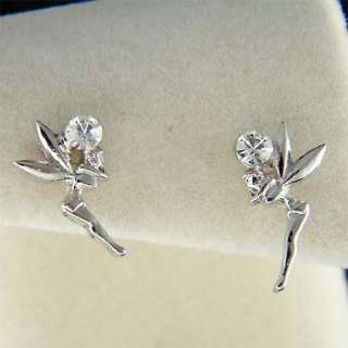 Swarovski Crystal Girls Kid Small Tinkerbell fairy Stud Earrings NEW