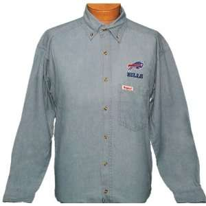 Extra Large (XL)   Light Blue Denim NFL Buffalo Bills Button up Long