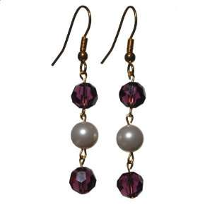 Swarovski Crystal Ball and Round Pearl Dangle Earring Jewelry