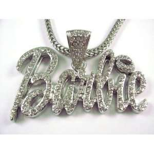 NEW NICKI MINAJ BARBIE Pendant w/Franco Chain Silver Small