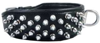 Black Real Leather Spikes Dog Collar Pit Bull Boxer 2