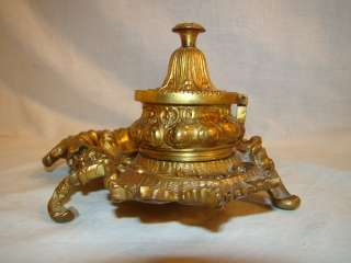 BRASS Antique LOUIS XV French ART NOUVEAU Double DESK Floral INKWELL