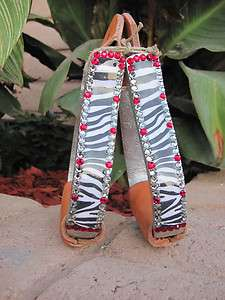 BLING kids metal barrel racing stirrups, zebra print, Swarovski