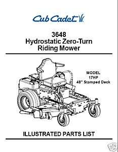 Cub Cadet Hydrostatic ZeroTurn Mower Parts Manual 3648