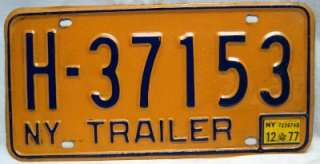 NEW YORK STATE TRUCK TRAILER LICENSE PLATE 1973  1986 GOLD & BLUE