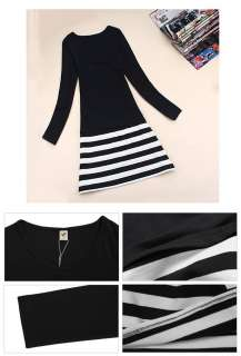 Office Lady Long Sleeve Striped Slim Dress Casual Suit FZ490