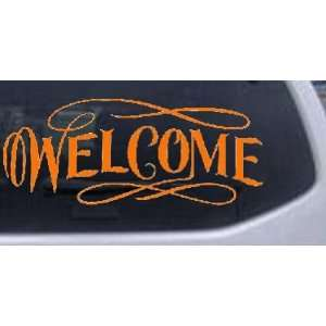 Welcome Swirls Business Car Window Wall Laptop Decal Sticker    Orange
