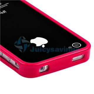 Bumper Red Shinny TPU Rubber Gel Case Cover+PRIVACY Protector for