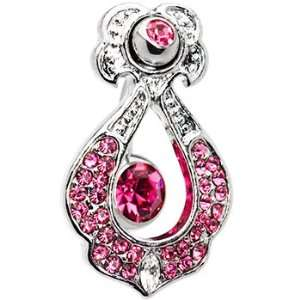 Top Mount Pink Zirconia Showstopper Belly Ring Jewelry