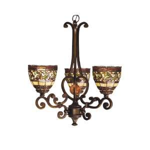 Dale Tiffany TH101035 Aldridge 3 Light Chandelier, Antique Golden Sand