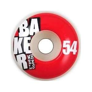 Baker STACKED Red Skateboard Wheels   54mm (Pack of 4)