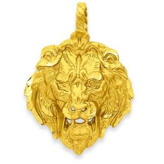 14k Yellow Gold Casted Satin Solid Diamond Cut Open Back Lion Head