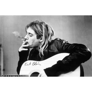 Kurt Cobain Memorial Guitar Cigarette Rock Music Poster 24