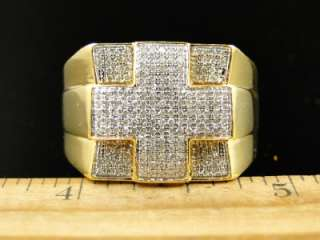 MENS YELLOW GOLD FINISH REAL CROSS PINKY DIAMOND DESIGNER RING 1 CT