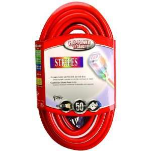 Coleman Cable 02548 41 50 Foot 12/3 Neon Outdoor Extension Cord, Red