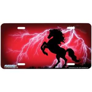 359 Lightning Horse on Red Rearing Horse Airbrushed License Plates